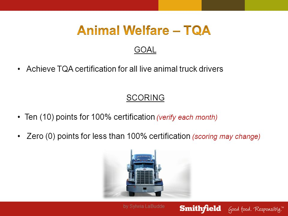 by Sylwia LaBudde GOAL Achieve TQA certification for all live animal truck drivers SCORING Ten (10) points for 100% certification (verify each month) Zero (0) points for less than 100% certification (scoring may change)