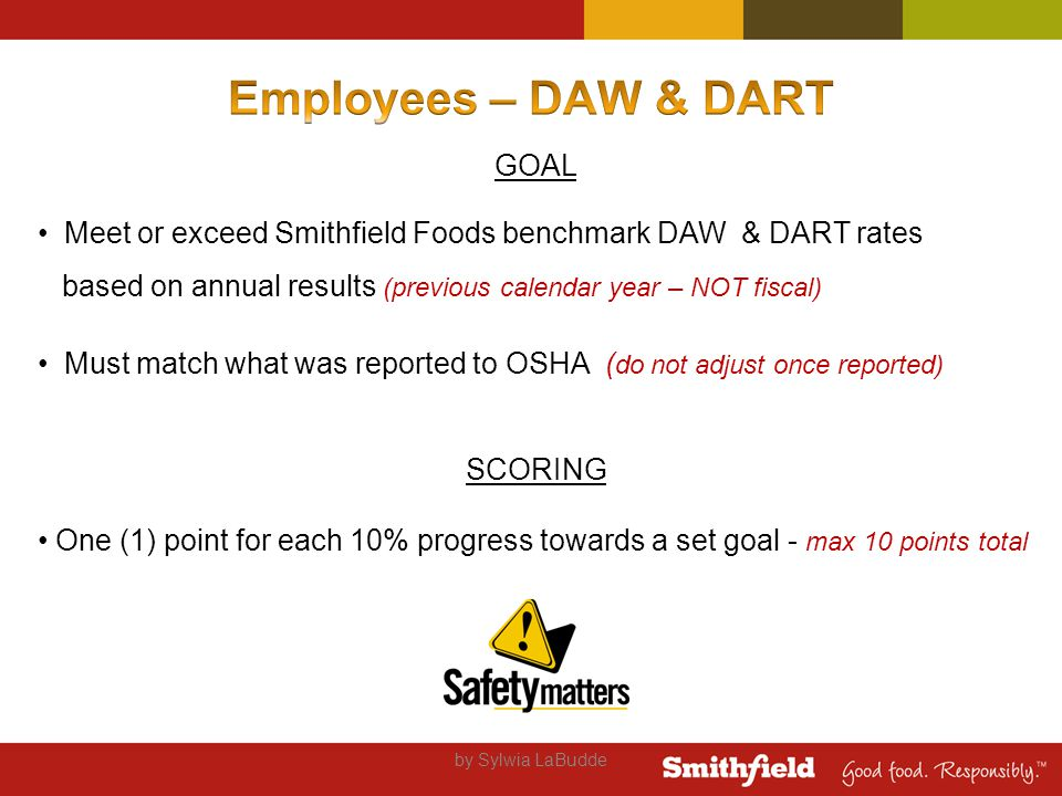 by Sylwia LaBudde GOAL Meet or exceed Smithfield Foods benchmark DAW & DART rates based on annual results (previous calendar year – NOT fiscal) Must match what was reported to OSHA ( do not adjust once reported) SCORING One (1) point for each 10% progress towards a set goal - max 10 points total