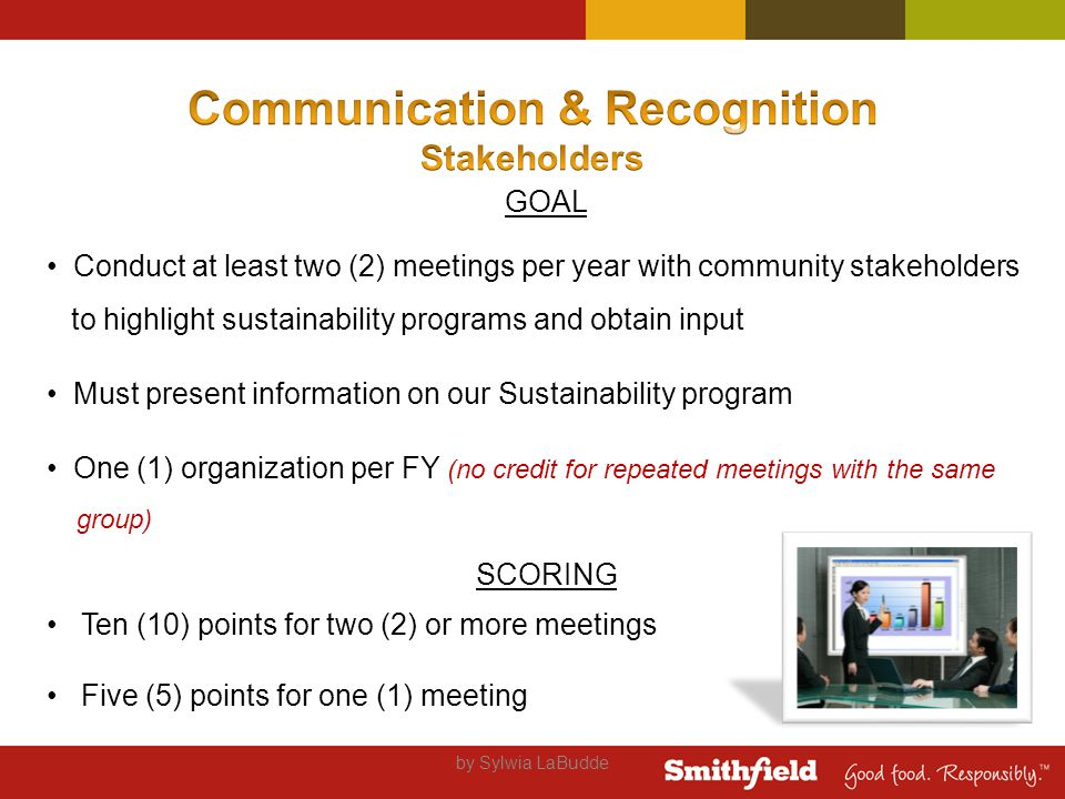 by Sylwia LaBudde GOAL Conduct at least two (2) meetings per year with community stakeholders to highlight sustainability programs and obtain input Must present information on our Sustainability program One (1) organization per FY (no credit for repeated meetings with the same group) SCORING Ten (10) points for two (2) or more meetings Five (5) points for one (1) meeting