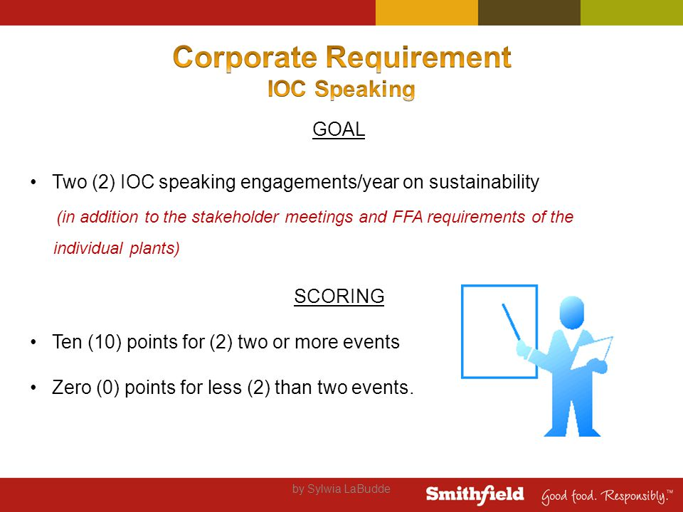 GOAL Two (2) IOC speaking engagements/year on sustainability (in addition to the stakeholder meetings and FFA requirements of the individual plants) SCORING Ten (10) points for (2) two or more events Zero (0) points for less (2) than two events.