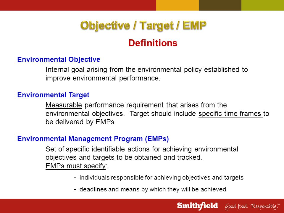 Definitions Environmental Objective Internal goal arising from the environmental policy established to improve environmental performance.