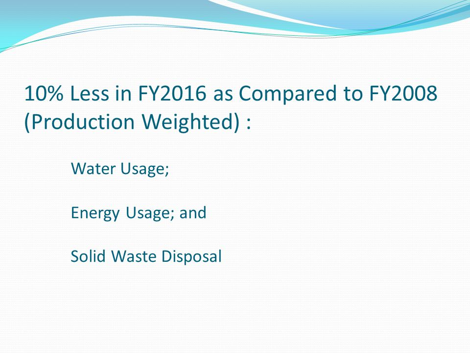 10% Less in FY2016 as Compared to FY2008 (Production Weighted) : Water Usage; Energy Usage; and Solid Waste Disposal