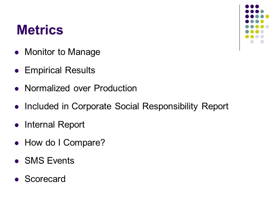 Metrics Monitor to Manage Empirical Results Normalized over Production Included in Corporate Social Responsibility Report Internal Report How do I Compare.