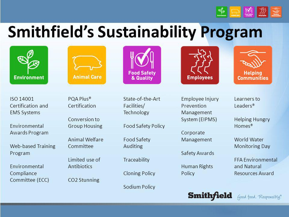 Smithfield's Sustainability Program ISO 14001 Certification and EMS Systems Environmental Awards Program Web-based Training Program Environmental Compliance Committee (ECC) PQA Plus® Certification Conversion to Group Housing Animal Welfare Committee Limited use of Antibiotics CO2 Stunning State-of-the-Art Facilities/ Technology Food Safety Policy Food Safety Auditing Traceability Cloning Policy Sodium Policy Employee Injury Prevention Management System (EIPMS) Corporate Management Safety Awards Human Rights Policy Learners to Leaders® Helping Hungry Homes® World Water Monitoring Day FFA Environmental and Natural Resources Award