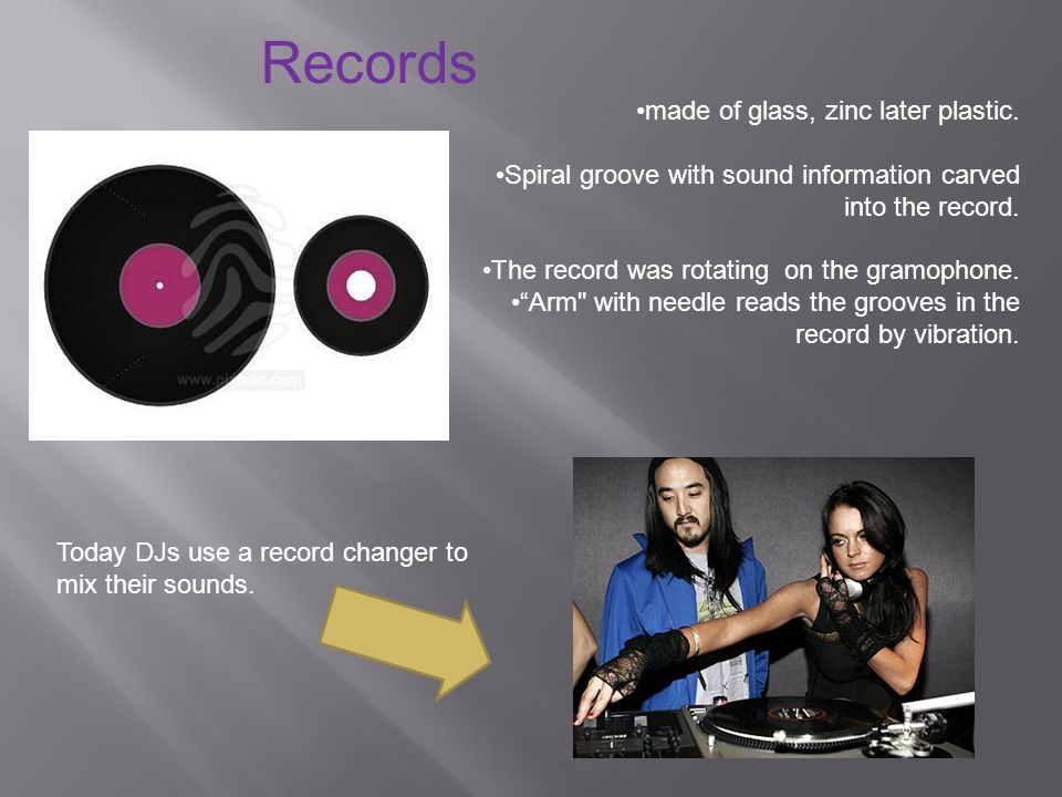 Today DJs use a record changer to mix their sounds.