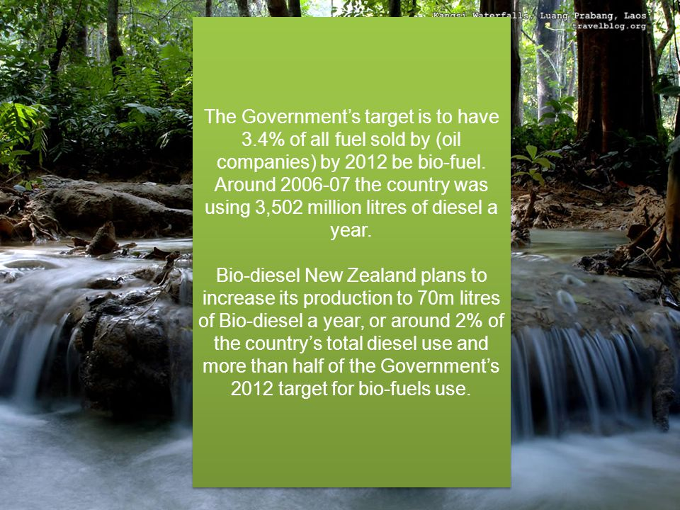 The Government's target is to have 3.4% of all fuel sold by (oil companies) by 2012 be bio-fuel.