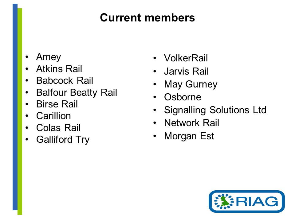 Current members Amey Atkins Rail Babcock Rail Balfour Beatty Rail Birse Rail Carillion Colas Rail Galliford Try VolkerRail Jarvis Rail May Gurney Osborne Signalling Solutions Ltd Network Rail Morgan Est