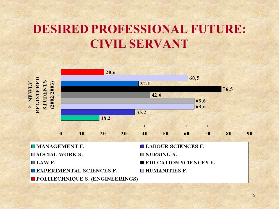6 DESIRED PROFESSIONAL FUTURE: CIVIL SERVANT