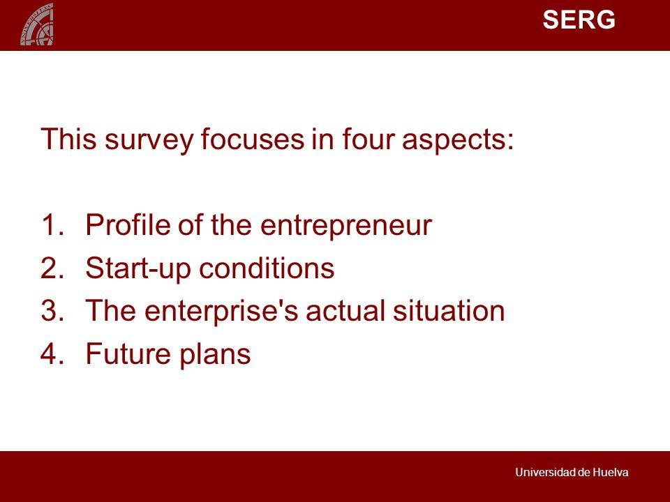 SERG Universidad de Huelva This survey focuses in four aspects: 1.Profile of the entrepreneur 2.Start-up conditions 3.The enterprise s actual situation 4.Future plans