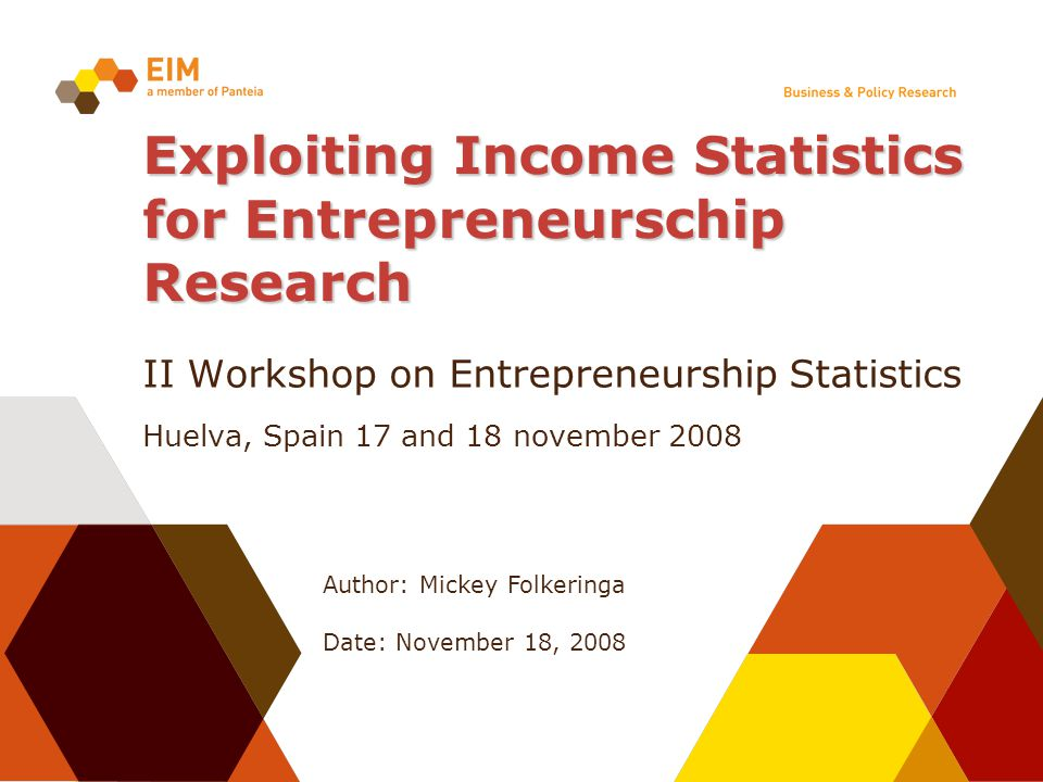Author: Mickey Folkeringa Date: November 18, 2008 Exploiting Income Statistics for Entrepreneurschip Research II Workshop on Entrepreneurship Statisti