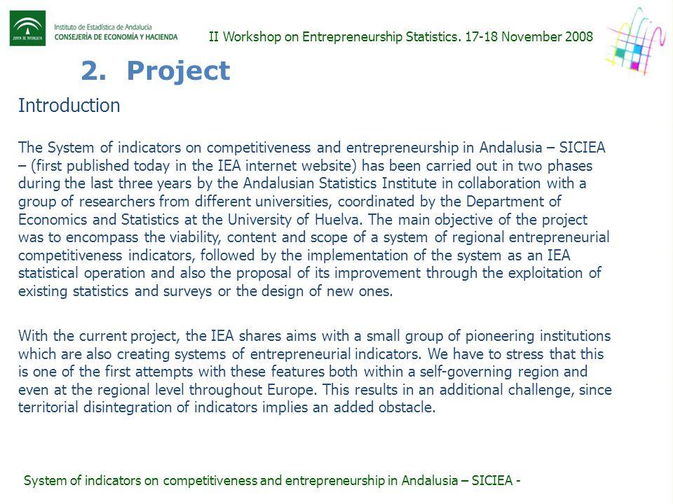 2. Project II Workshop on Entrepreneurship Statistics.