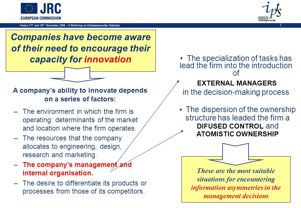Huelva 17 th and 18 th November 2008 – II Workshop on Entrepreneurship Statistics 13 Descriptive Statistics: