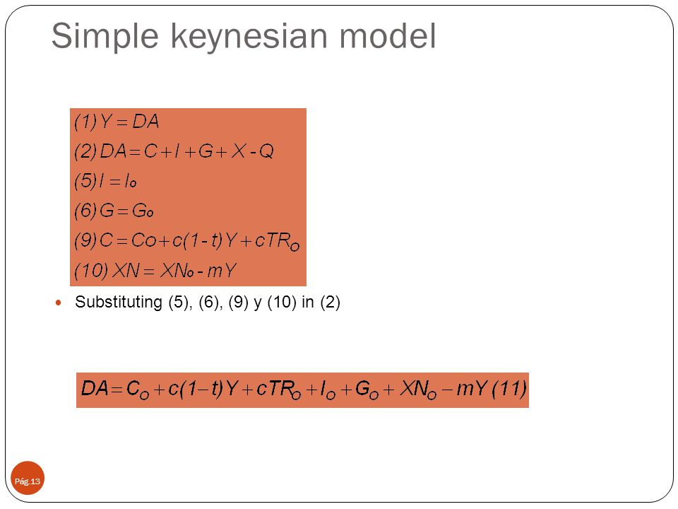 Simple keynesian model Pág.13 Substituting (5), (6), (9) y (10) in (2)