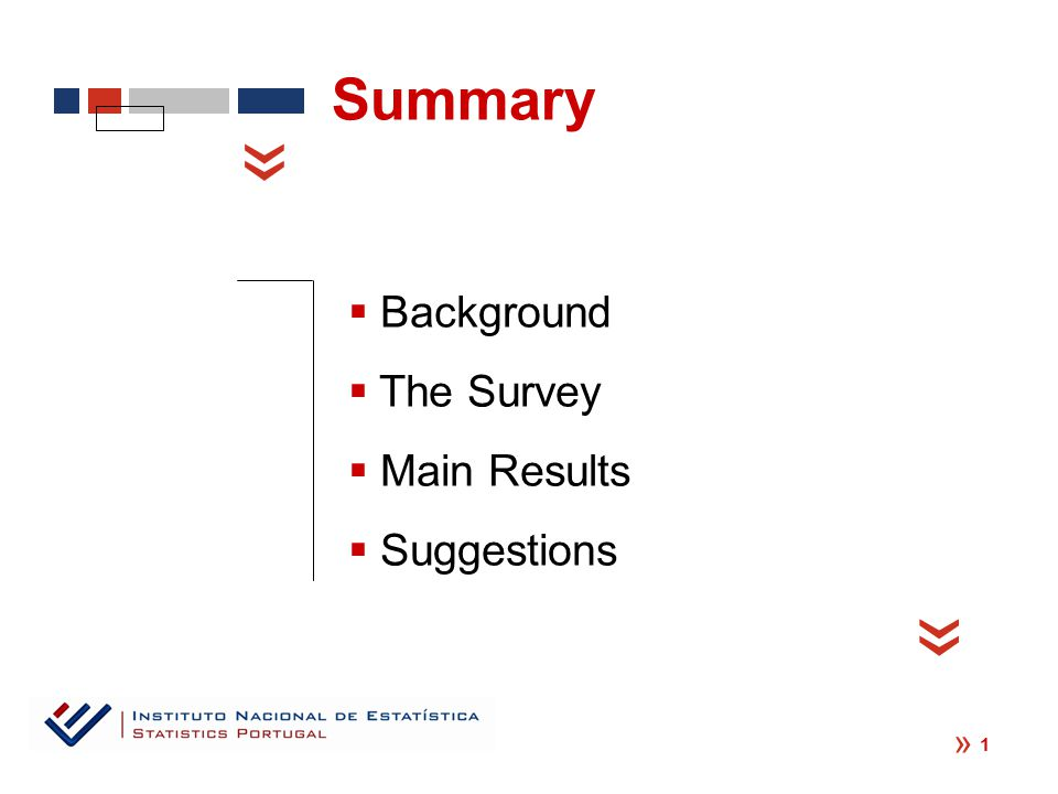 «  Background  The Survey  Main Results  Suggestions « « Summary 1