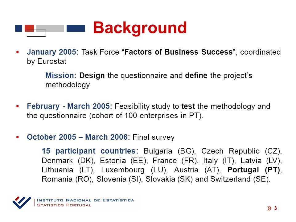  January 2005: Task Force Factors of Business Success , coordinated by Eurostat Mission: Design the questionnaire and define the project's methodology  February - March 2005: Feasibility study to test the methodology and the questionnaire (cohort of 100 enterprises in PT).
