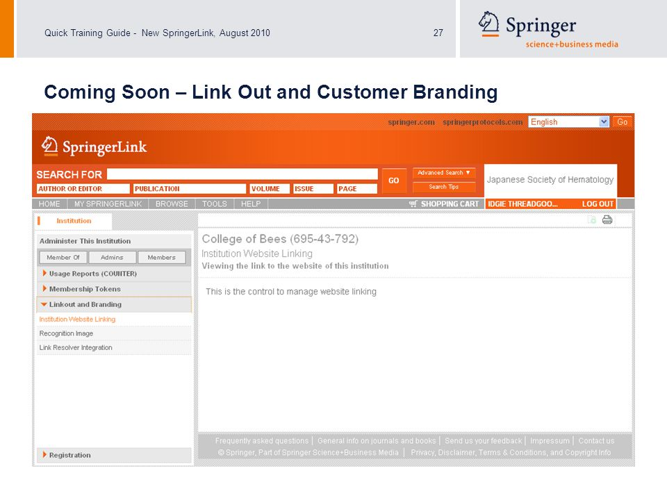 Quick Training Guide - New SpringerLink, August 201027 Coming Soon – Link Out and Customer Branding