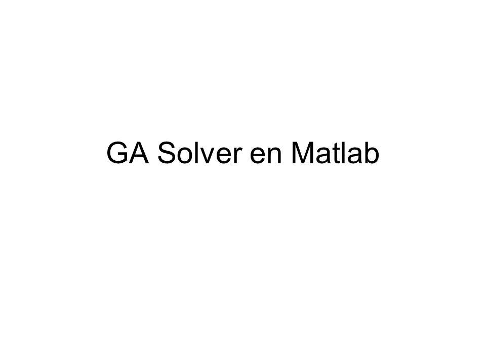 GA Solver X = GA(FITNESSFCN,NVARS) finds the minimum of FITNESSFCN using GA.