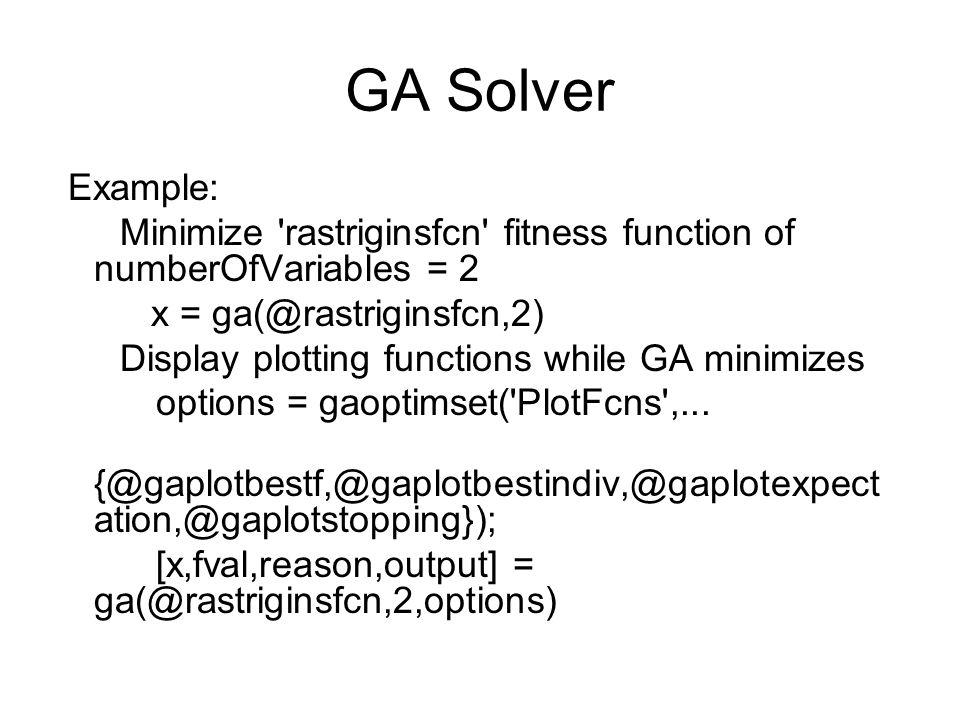Opciones del algoritmo I GAOPTIMSET Create a genetic algorithm options structure.