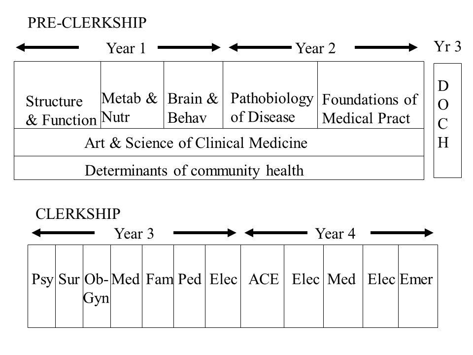 Structure & Function Metab & Nutr Art & Science of Clinical Medicine Determinants of community health Brain & Behav Pathobiology of Disease Foundations of Medical Pract PRE-CLERKSHIP Year 1 Year 2 CLERKSHIP Year 3 Year 4 Med DOCHDOCH Yr 3 Psy Sur Ob- Gyn Fam Ped Elec ACE ElecElec Emer