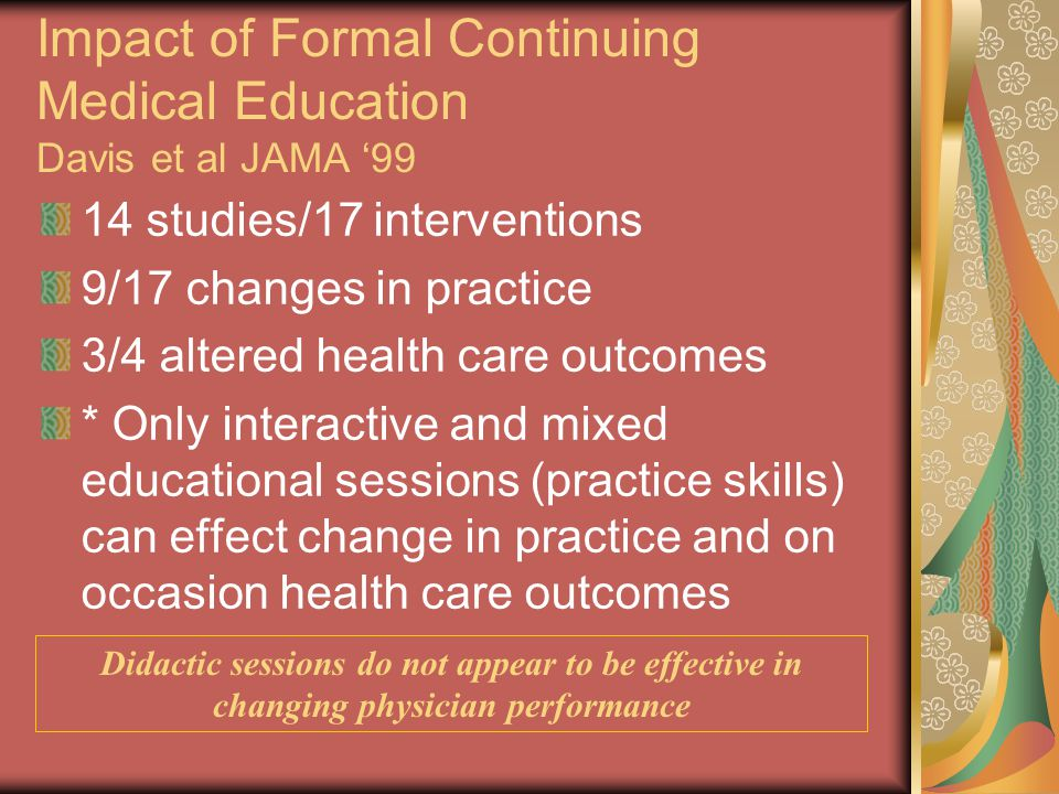 Impact of Formal Continuing Medical Education Davis et al JAMA '99 14 studies/17 interventions 9/17 changes in practice 3/4 altered health care outcom