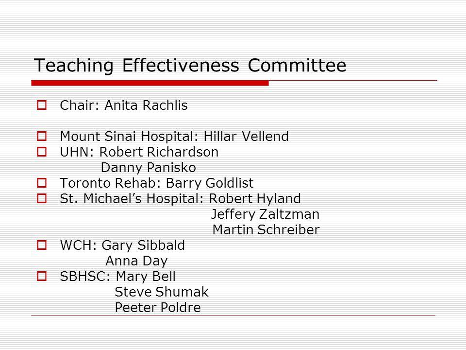 Teaching Effectiveness Committee  Chair: Anita Rachlis  Mount Sinai Hospital: Hillar Vellend  UHN: Robert Richardson Danny Panisko  Toronto Rehab: