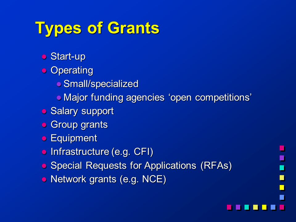 Types of Grants l Start-up l Operating l Small/specialized l Major funding agencies 'open competitions' l Salary support l Group grants l Equipment l Infrastructure (e.g.