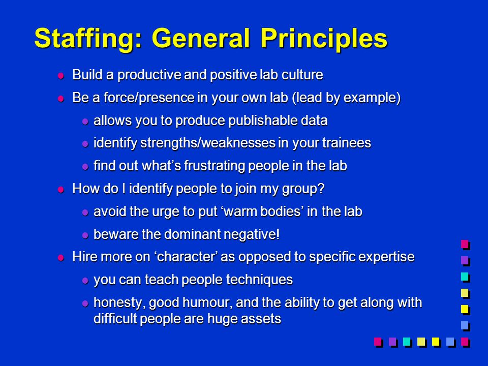 Staffing: General Principles l Build a productive and positive lab culture l Be a force/presence in your own lab (lead by example) l allows you to produce publishable data l identify strengths/weaknesses in your trainees l find out what's frustrating people in the lab l How do I identify people to join my group.