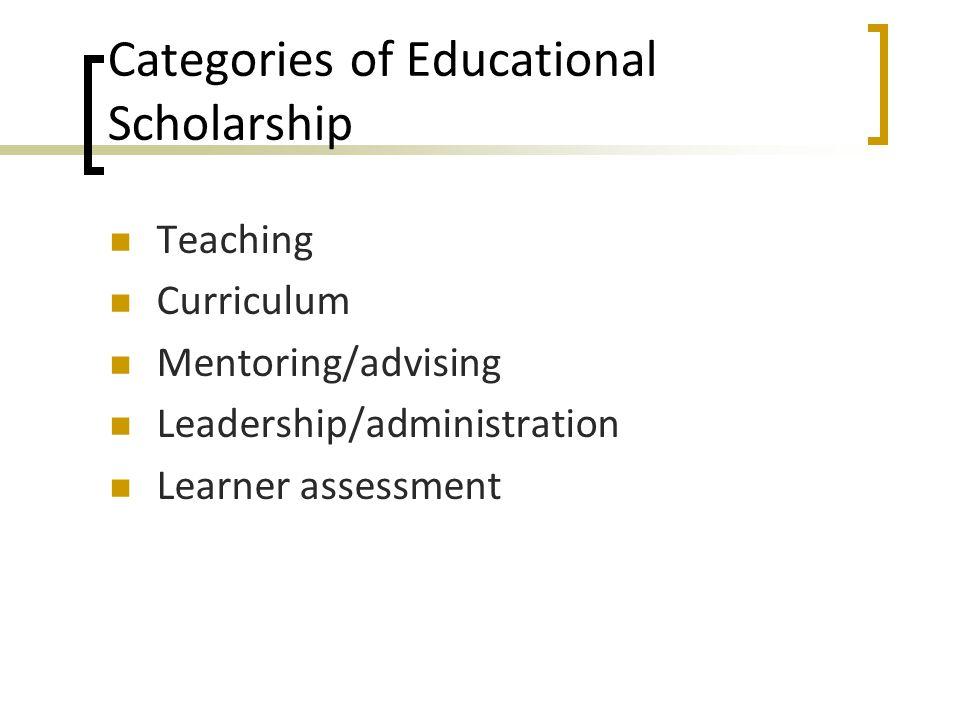 Categories of Educational Scholarship Teaching Curriculum Mentoring/advising Leadership/administration Learner assessment