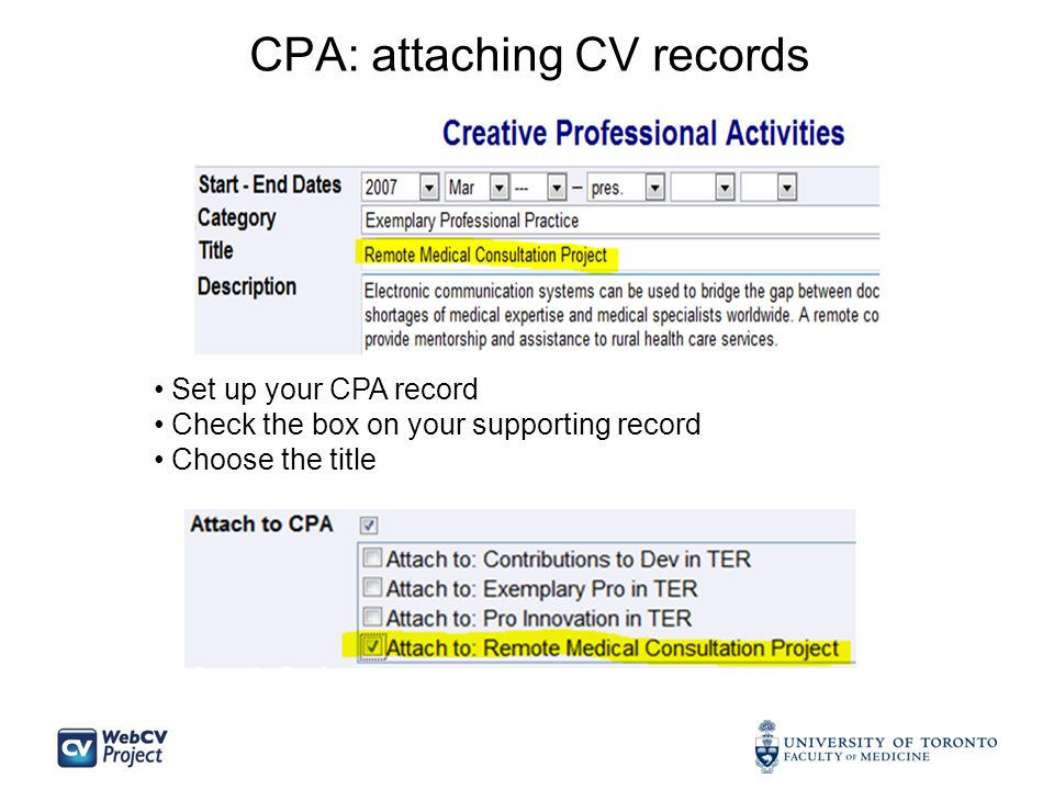 CPA: attaching CV records Set up your CPA record Check the box on your supporting record Choose the title