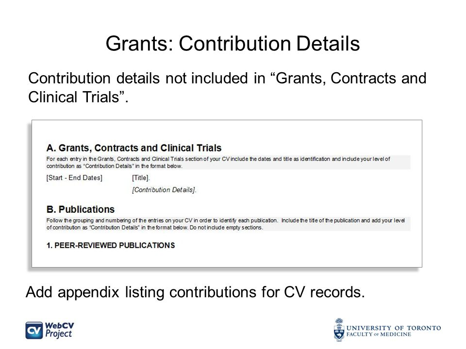 Grants: Contribution Details Contribution details not included in Grants, Contracts and Clinical Trials .