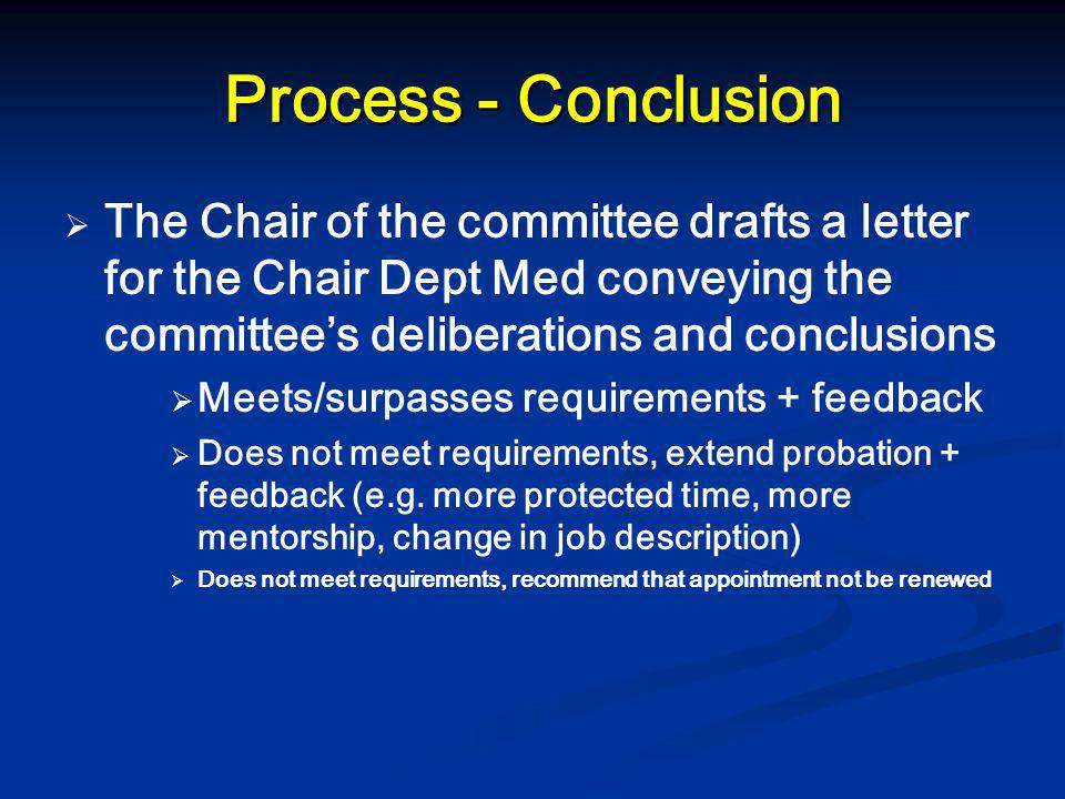 Process - Conclusion   The Chair of the committee drafts a letter for the Chair Dept Med conveying the committee's deliberations and conclusions  