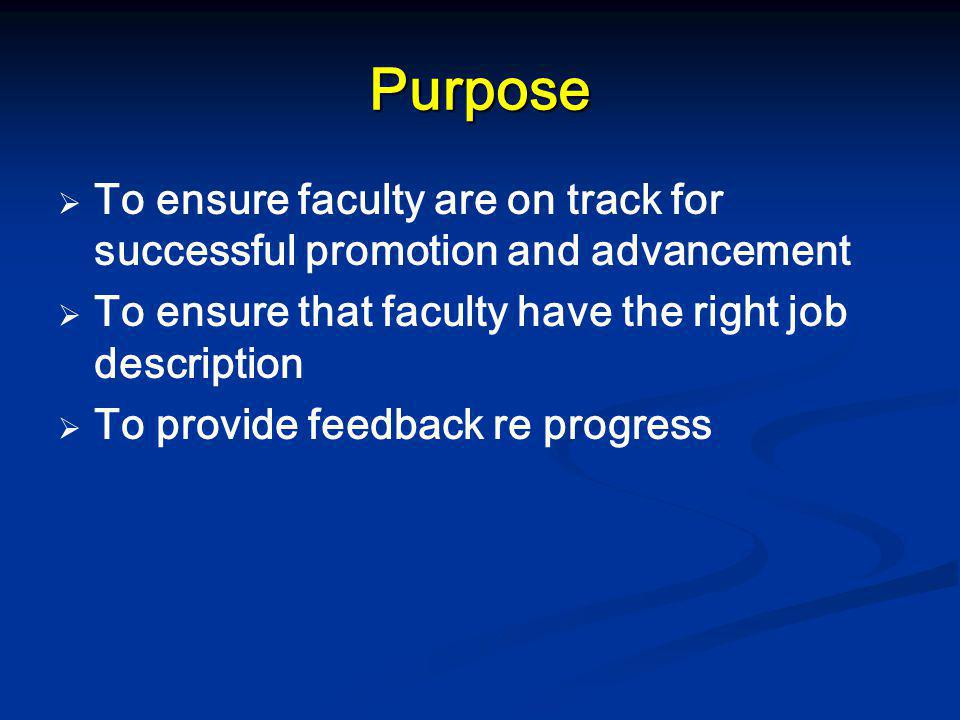 Purpose   To ensure faculty are on track for successful promotion and advancement   To ensure that faculty have the right job description   To p