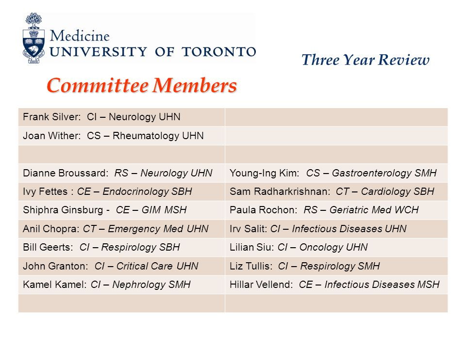 Three Year Review Committee Members Frank Silver: CI – Neurology UHN Joan Wither: CS – Rheumatology UHN Dianne Broussard: RS – Neurology UHNYoung-Ing Kim: CS – Gastroenterology SMH Ivy Fettes : CE – Endocrinology SBHSam Radharkrishnan: CT – Cardiology SBH Shiphra Ginsburg - CE – GIM MSHPaula Rochon: RS – Geriatric Med WCH Anil Chopra: CT – Emergency Med UHNIrv Salit: CI – Infectious Diseases UHN Bill Geerts: CI – Respirology SBHLilian Siu: CI – Oncology UHN John Granton: CI – Critical Care UHNLiz Tullis: CI – Respirology SMH Kamel Kamel: CI – Nephrology SMHHillar Vellend: CE – Infectious Diseases MSH