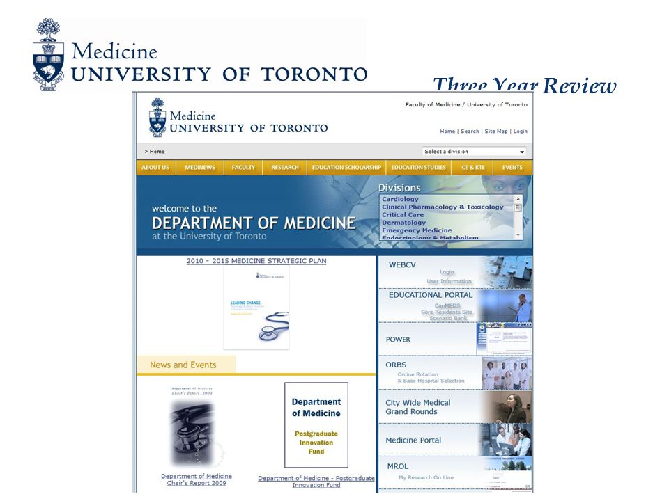 Three Year Review Clinician Administrator – Description and Expectations Individuals with major administrative responsibilities that occupy at least half of their time 50% or more administration, balance of teaching, research, clinical Expected benchmarks Senior administrative responsibilities at the Departmental or Faculty levels