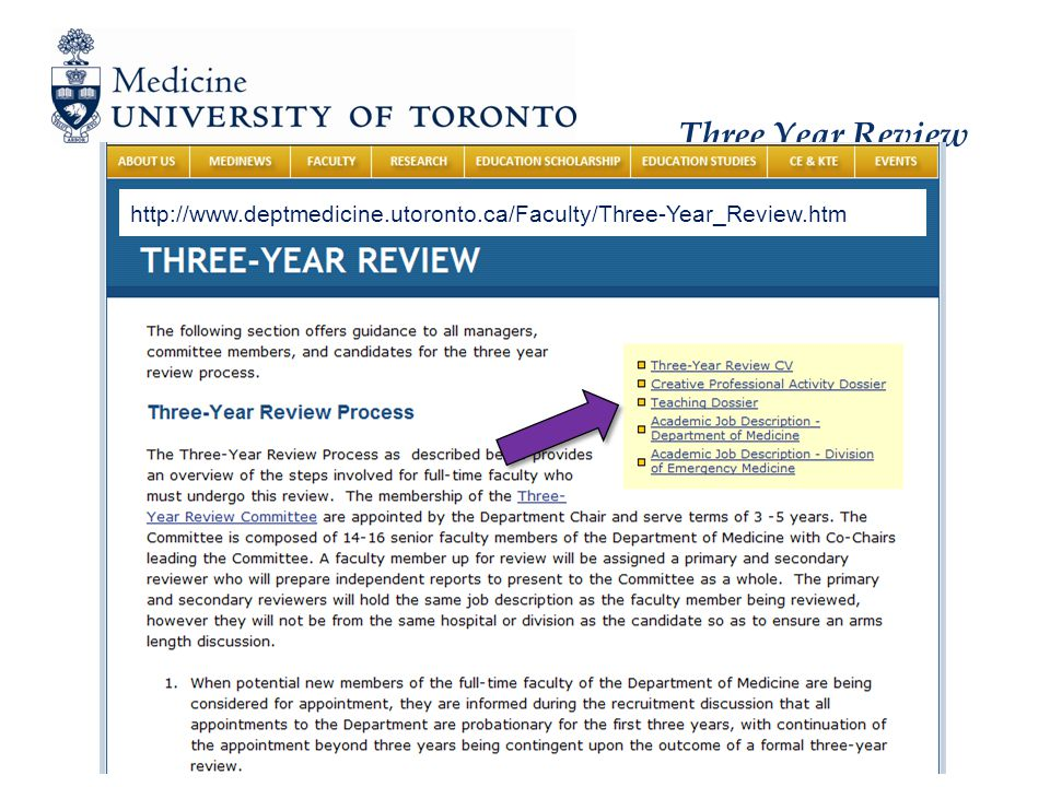 Three Year Review Clinician Scientist – Description and Expectations Major activity is research 70-80% research, 10-15% teaching, 10-15% clinical, 5-10% administration Expected productivity principal investigator on an established research program Holds as PI at least one peer-reviewed grant ≥ 2 peer-reviewed manuscripts per year as 1 st or senior author
