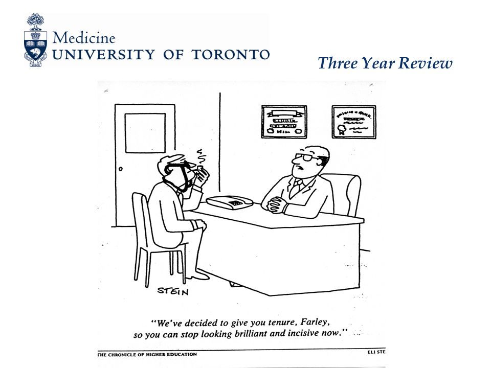 Three Year Review Process - Conclusion   The Co-Chairs of the committee draft a letter for the Chair Department of Medicine conveying the committee's deliberations and conclusions Meets/surpasses requirements + feedback Does not meet requirements, extend probation + feedback (e.g.