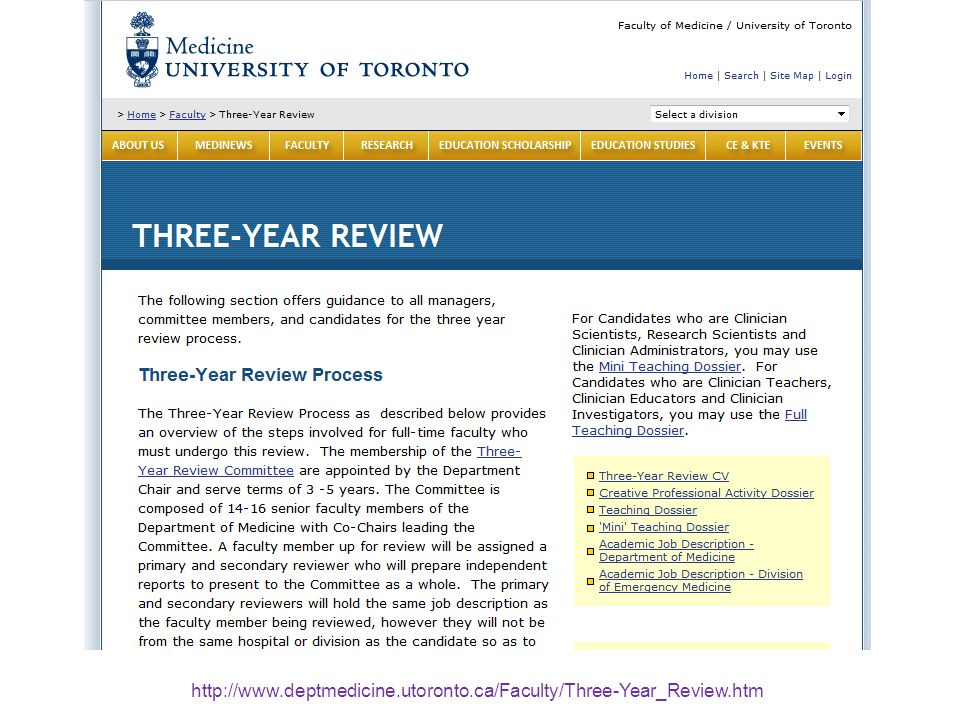 http://www.deptmedicine.utoronto.ca/Faculty/Three-Year_Review.htm