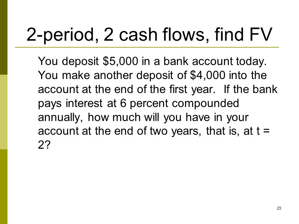 29 2-period, 2 cash flows, find FV You deposit $5,000 in a bank account today. You make another deposit of $4,000 into the account at the end of the f