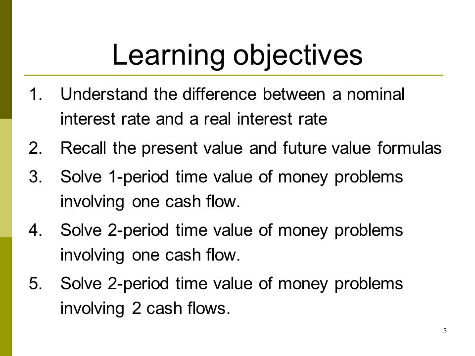 3 Learning objectives 1.Understand the difference between a nominal interest rate and a real interest rate 2.Recall the present value and future value