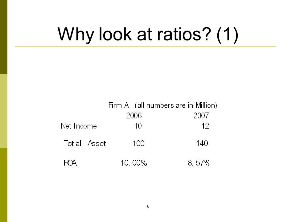 7 Financial ratio analysis involves… Comparison of financial ratios through time for a given firm This is trend analysis