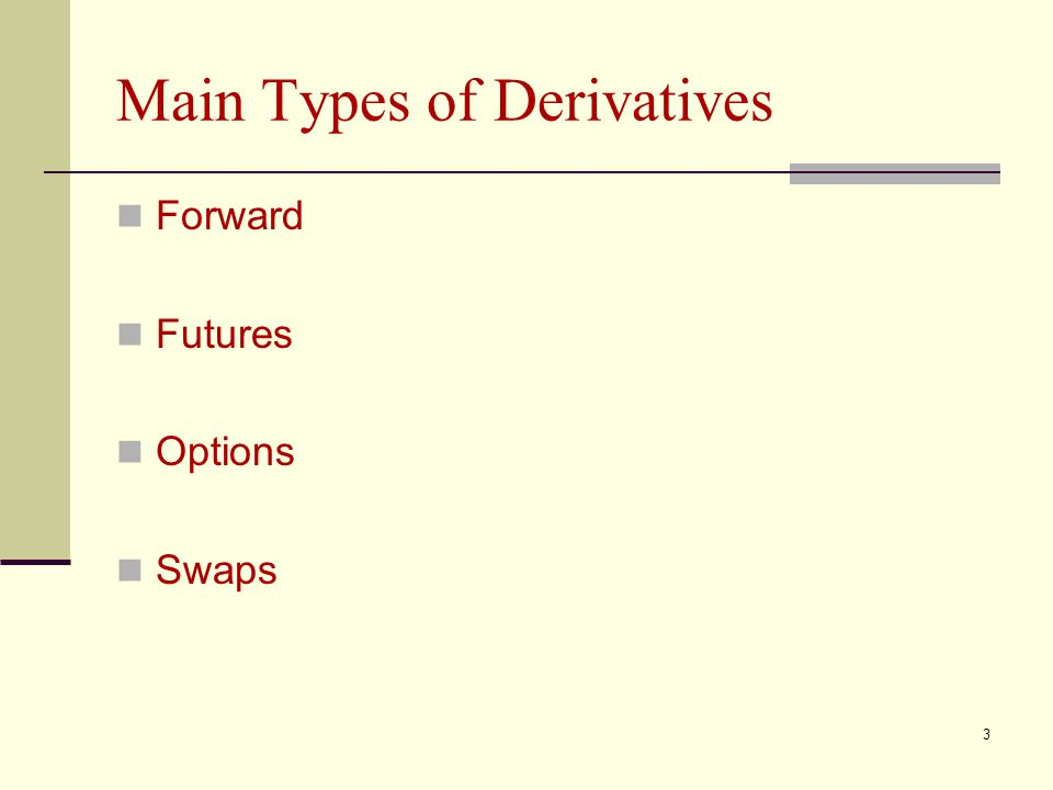 3 Main Types of Derivatives Forward Futures Options Swaps