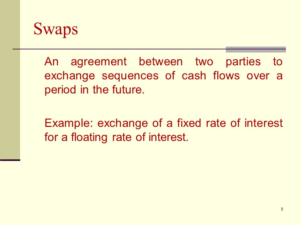 9 Swaps An agreement between two parties to exchange sequences of cash flows over a period in the future.