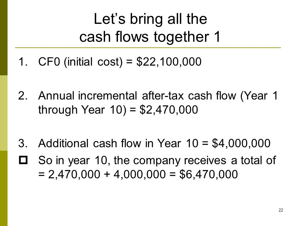 22 Let's bring all the cash flows together 1 1.CF0 (initial cost) = $22,100,000 2.Annual incremental after-tax cash flow (Year 1 through Year 10) = $2,470,000 3.Additional cash flow in Year 10 = $4,000,000  So in year 10, the company receives a total of = 2,470,000 + 4,000,000 = $6,470,000