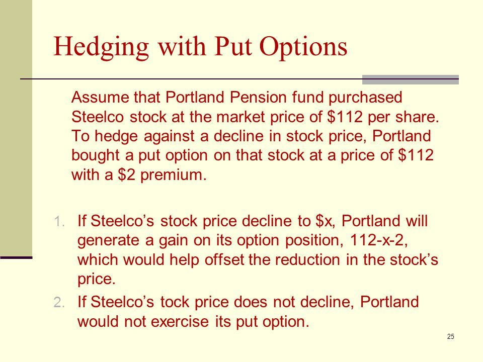 Hedging with Put Options Assume that Portland Pension fund purchased Steelco stock at the market price of $112 per share.