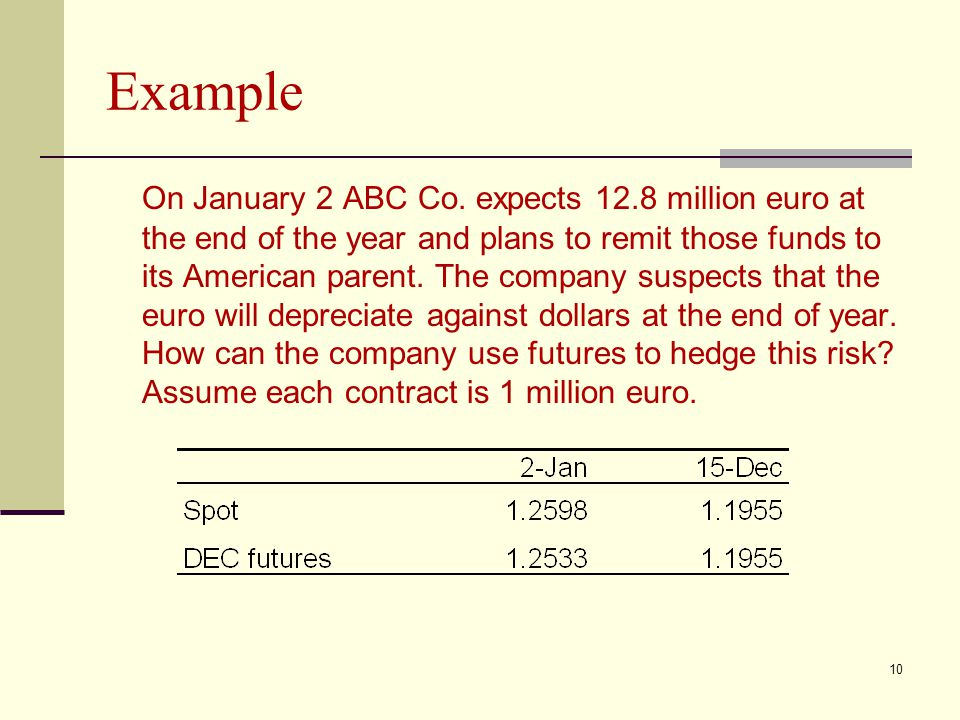 Example On January 2 ABC Co. expects 12.8 million euro at the end of the year and plans to remit those funds to its American parent. The company suspe