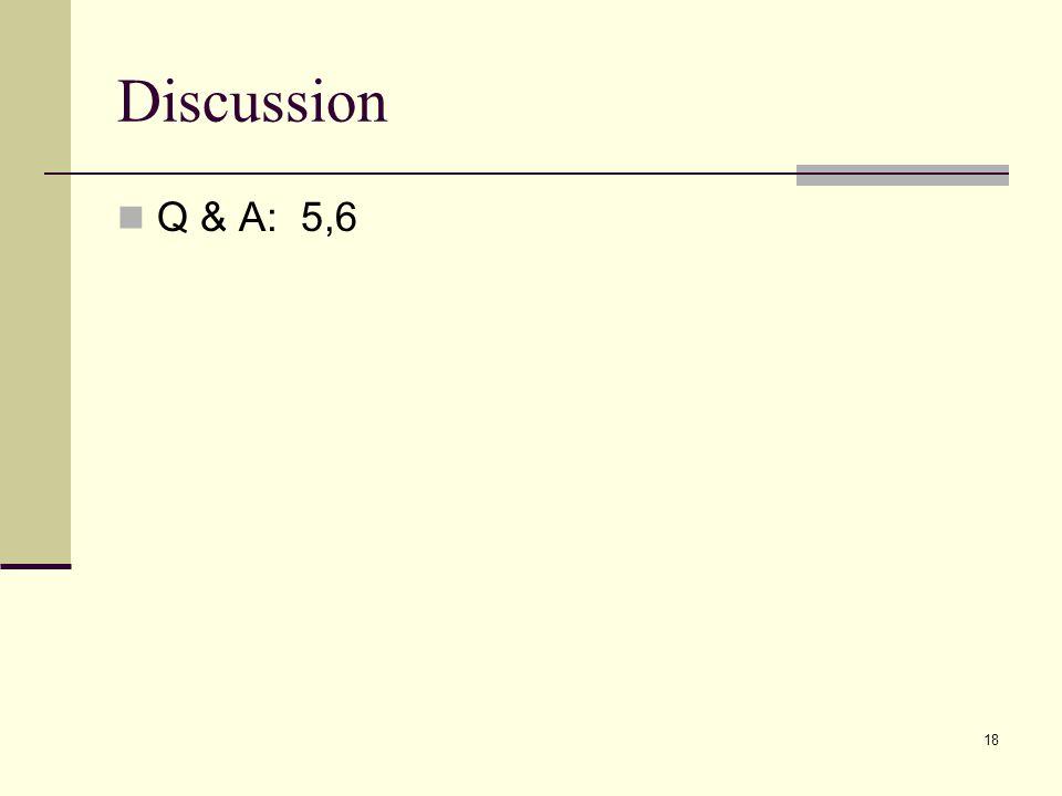 Discussion Q & A: 5,6 18