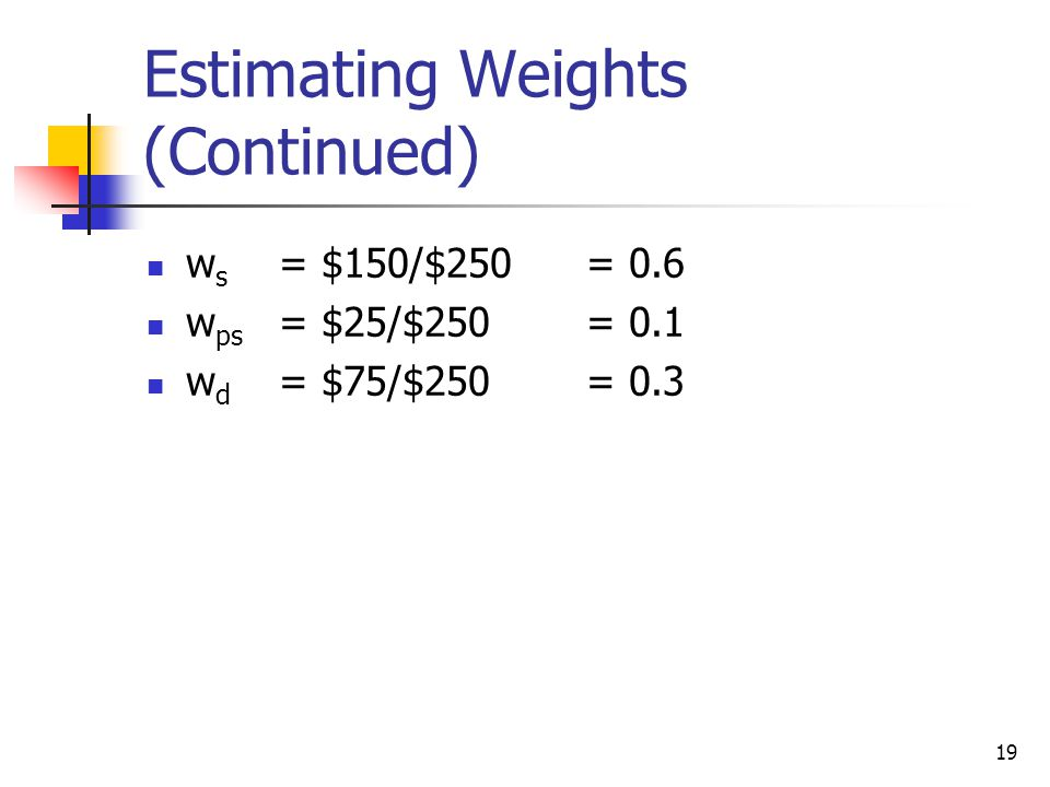 19 Estimating Weights (Continued) w s = $150/$250= 0.6 w ps = $25/$250= 0.1 w d = $75/$250= 0.3