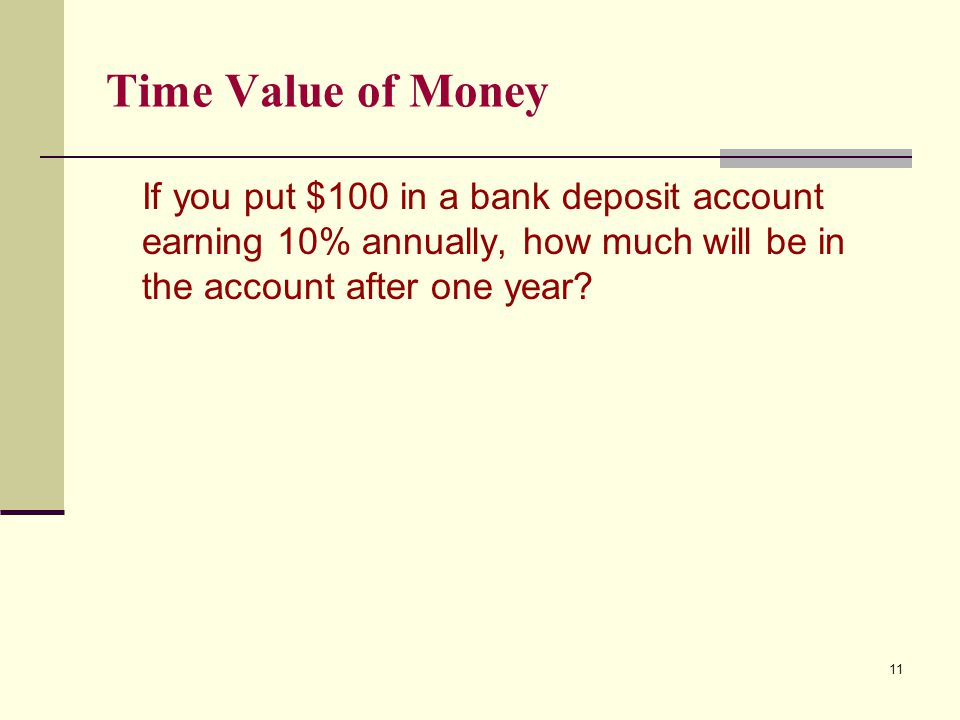 Time Value of Money If you put $100 in a bank deposit account earning 10% annually, how much will be in the account after one year? 11