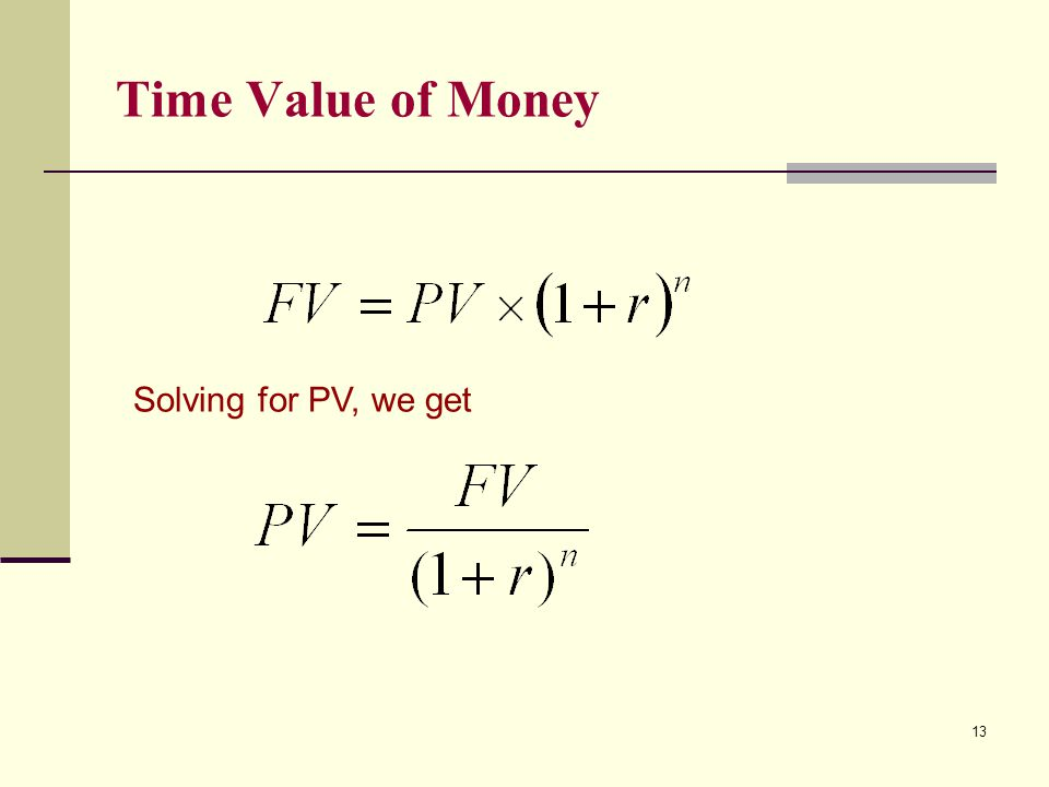 Time Value of Money 13 Solving for PV, we get