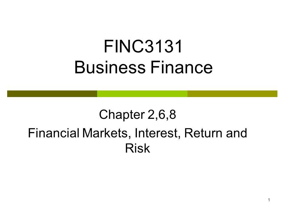 1 FINC3131 Business Finance Chapter 2,6,8 Financial Markets, Interest, Return and Risk